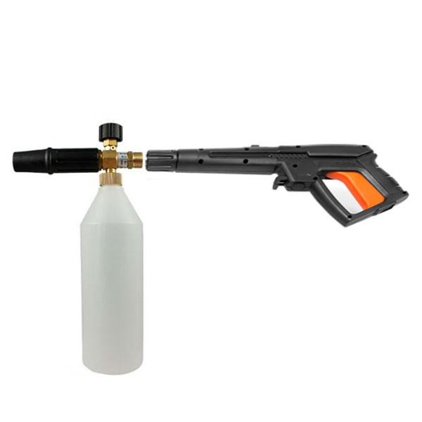 Способ крепления пенной насадки на пистолет мойки Carver CW-2201E
