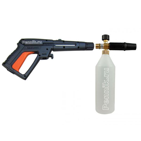 Пенная насадка крепиться к моечному пистолету мойки Wortex PW 1523 вместо струйного копья, при помощи переходника который установлен на насадке.